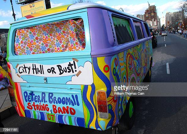 The Broomall String Band's Volkswagon Bus prop rolls up Broad Street during the 2007 Mummers Parade January 6 2007 in Philadelphia Pennsylvania...