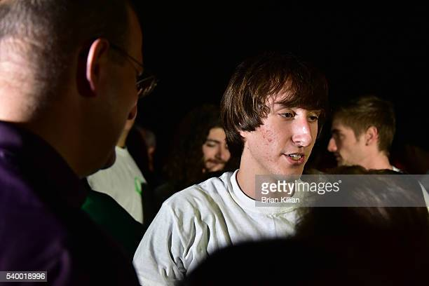 The brother of Christina Grimmie Mark Grimmie greets friends during the Vigil For Christina Grimmie at Evesham Memorial Complex on June 13 2016 in...