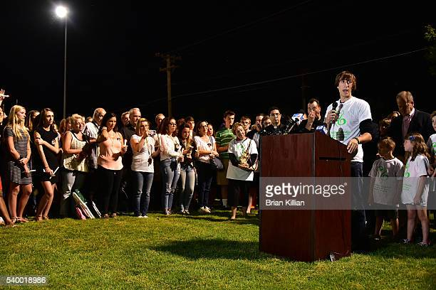 The brother of Christina Grimmie Mark Grimmie speaks during the Vigil For Christina Grimmie at Evesham Memorial Complex on June 13 2016 in Evesham...
