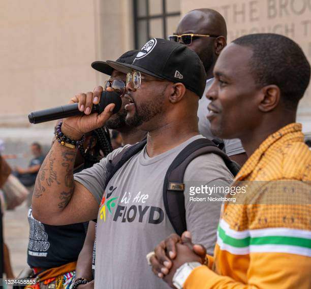 The brother of George Floyd, Terrance Floyd , speaks during a Juneteenth ceremony at the Brooklyn Public Library on June 19, 2021 in the Brooklyn...