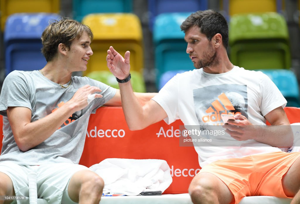 The Brothers Alexander And Mischa Zverev During The Training Session