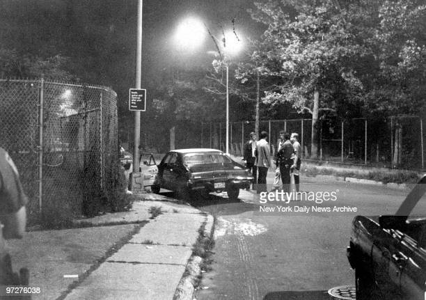 The brown 1968 Buick Skylark belonging to Robert Violante parked in Bath Beach Brooklyn New York City where Violante and Stacy Moskowitz were shot by...