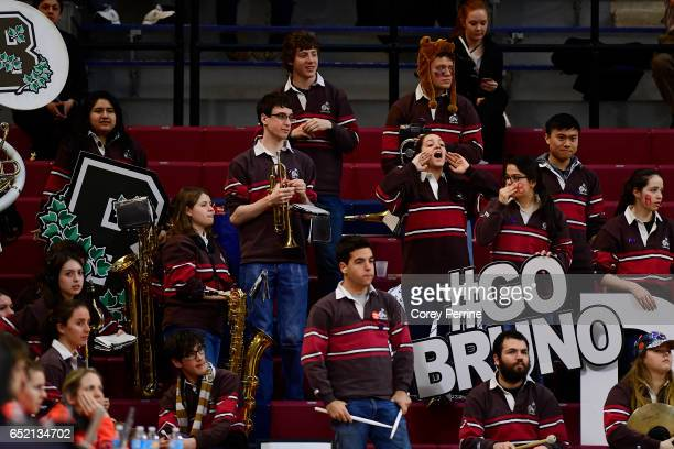 The Brown Bears band cheers on the women's basketball team against the Pennsylvania Quakers during the third quarter at The Palestra during an Ivy...