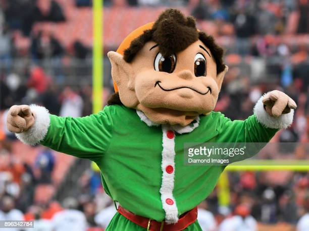The Brownie Elf mascot runs onto the field prior to a game on December 17 2017 against the Baltimore Ravens at FirstEnergy Stadium in Cleveland Ohio...