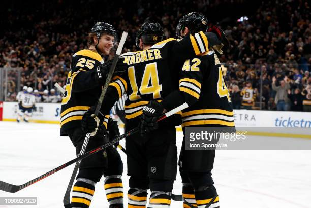 The Bruins celebrate the goal from Boston Bruins winger Chris Wagner during a game between the Boston Bruins and the St Louis Blues on January 17 at...