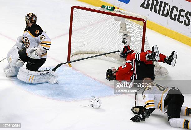The Bruins Dennis Seidenberg got two minutes for tripping during this takedown of the Blackhawks Brandon Saad The Boston Bruins visited the Chicago...