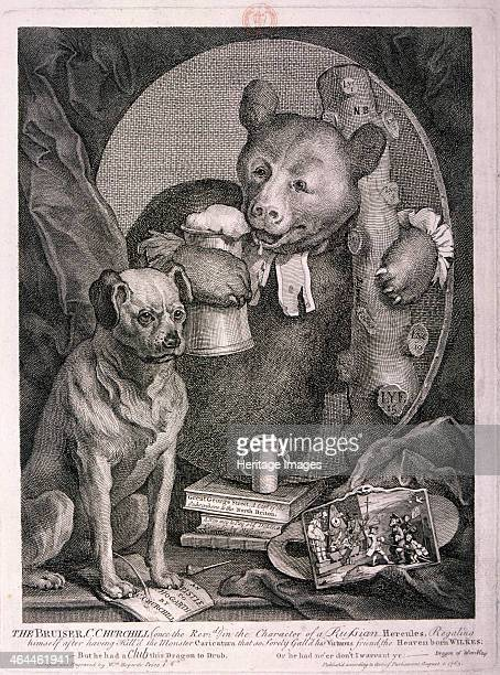 'The Bruiser C Churchill in the character of a Russian Hercules ' 1763 The poet Charles Churchill is depicted as a bear in a clerical collar with a...