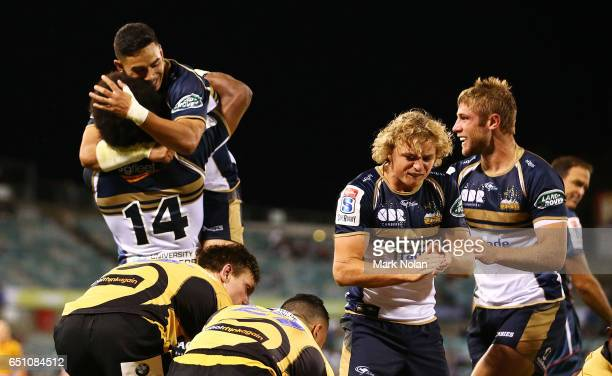 The Brumbies celebrate a try by Robbie Abel during the round three Super Rugby match between the Brumbies and the Force at GIO Stadium on March 10,...