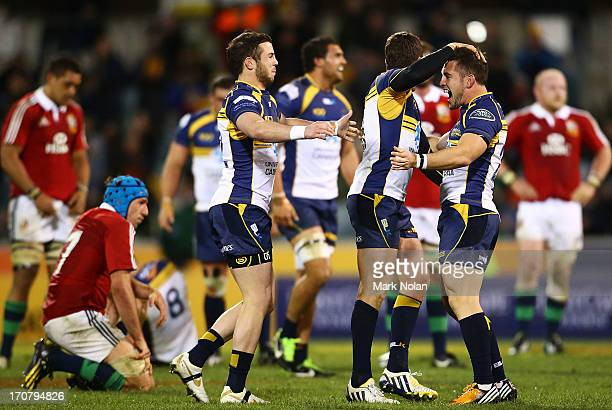 The Brumbies celebrate victory after the International tour match between the ACT Brumbies and the British & Irish Lions at Canberra Stadium on June...