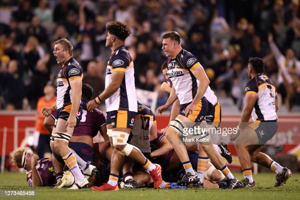 The Brumbies celebrate winning the Super Rugby AU Grand Final between the Brumbies and the Reds at GIO Stadium on September 19, 2020 in Canberra,...