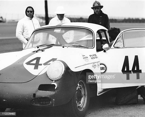 The Brumos Porsche 356B Carrera is prepped on pit road prior to the start of the Daytona Continental at Daytona International Speedway Driver Bill...