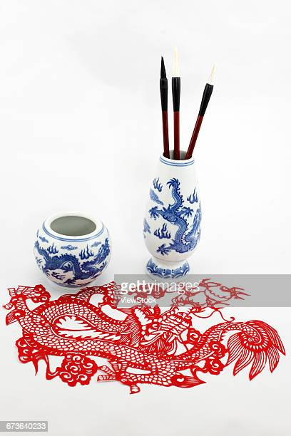The brush and the blue and white porcelain