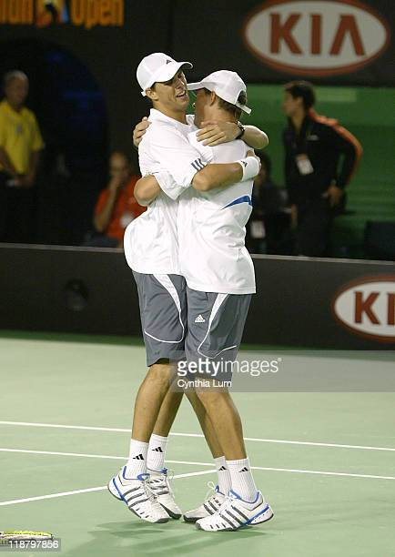 The Bryan Brothers, Bob and Mike, win Australian Open 2007 doubles title, defeating Max Mirnyi of Bulgaria, and Jonas Bjorkman of Sweden in the final...