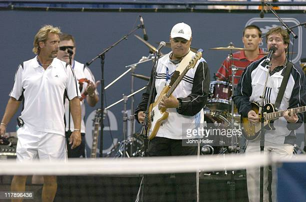 The Bryan Brothers warm up the audience at the Gibson/Baldwin Night At The Net Chairty Event at the Los Angeles Tennis Centers Straus Stadium at UCLA