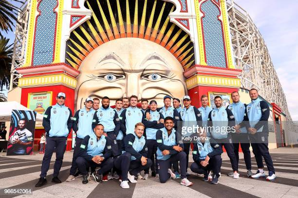 The Brydens Lawyers NSW Blues pose during a New South Wales Blues State of Origin Media Opportunity at Luna Park on June 3 2018 in Melbourne Australia