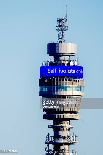 The BT Tower broadcasting messages about the Covid19 lockdown on March 25 2020 in London United Kingdom British Prime Minister Boris Johnson...