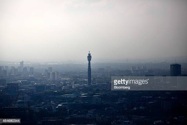 The BT Tower center stands on the city skyline seen from the Leadenhall Building also known as the Cheesegrater in the financial district of London...