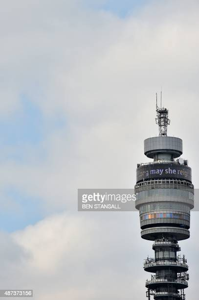 The BT Tower displays the words ' Long may she reign' to pay tribute to Queen Elizabeth II becoming Britain's longest reigning monarch in London on...
