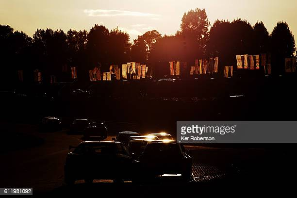 The BTCC field drives along the Cooper Straight during the Dunlop MSA British Touring Car Championship at Brands Hatch on October 2 2016 in Longfield...