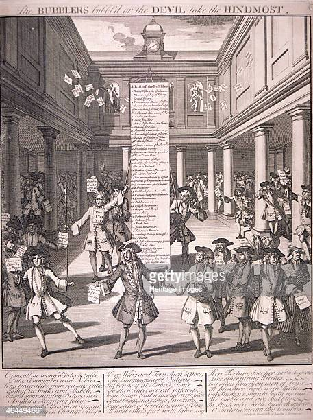 'The Bubblers bubbl'd or the Devil take the hindmost' 1720 showing the interior of the Stock Exchange with many figures showing pleasure or dismay...