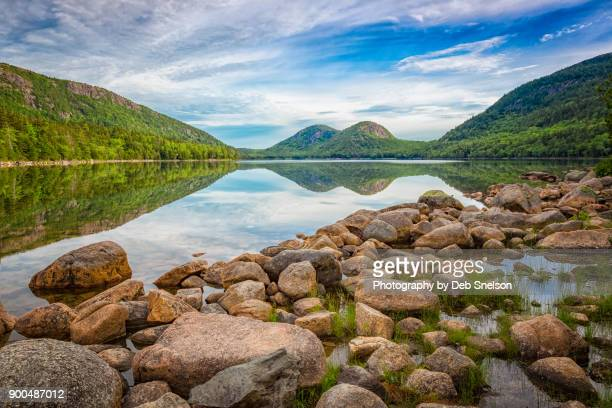 the bubbles mountains from jordan pond - maine stock pictures, royalty-free photos & images