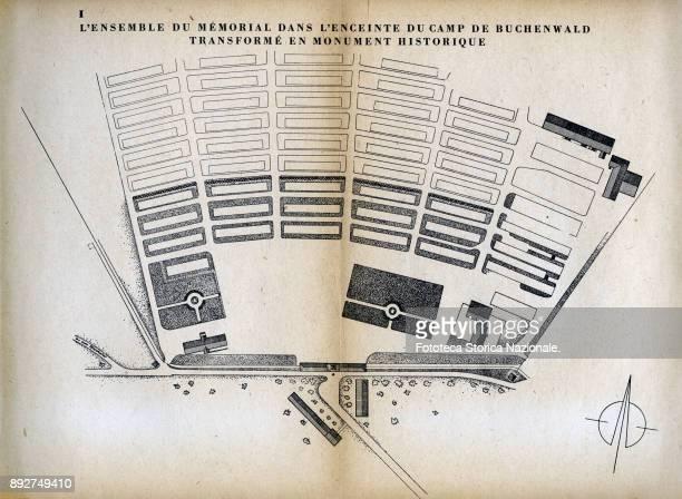 The Buchenwald concentration camp transformed into a memorial museum table from the booklet 'Buchenwald lieu de Martire et de souvenir' published on...