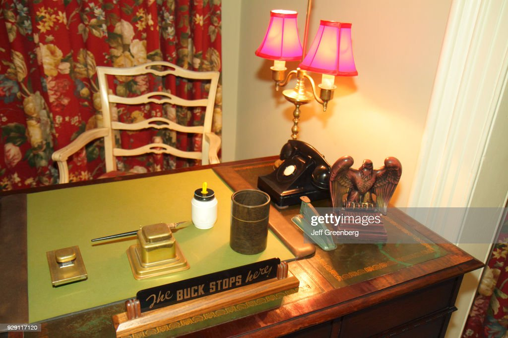 The Buck Stops Here Sign On A Desk Inside Little White House
