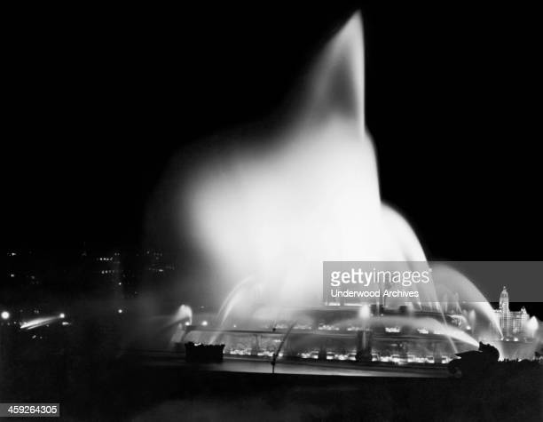 The Buckingham Fountain in Grant Park at night with the Michigan Avenue skyline in the background Chicago Illinois May 20 1928