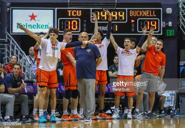 The Bucknell Bison bench cheers a basket during the first half of the game against the TCU Horned Frogs at Stan Sheriff Center on December 23, 2018...