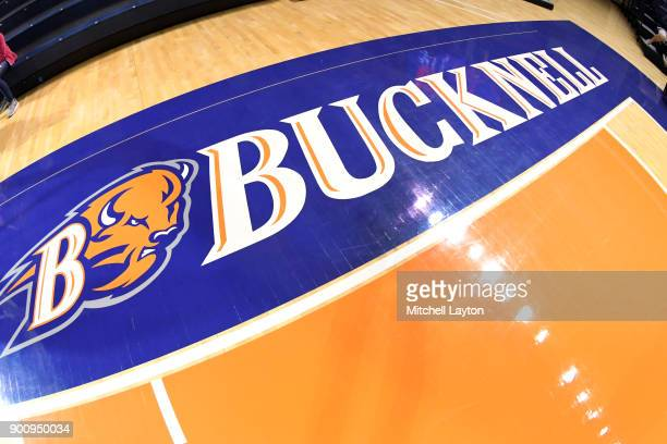 The Bucknell Bison logo on the floor before a college basketball game against the American University Eagles at the Sojka Pavilion on December 29...