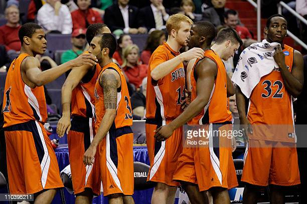 The Bucknell Bison react to their loss to the Connecticut Huskies during the second round of the 2011 NCAA men's basketball tournament at the Verizon...