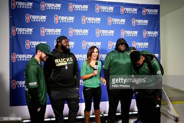 The Bucks Gaming talks to the media after the gamea against the Warriors Gaming Squad on August 4 2018 at the NBA 2K Studio in Long Island City New...