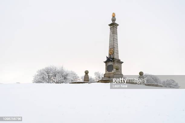 The Bucks War Memorial in memory of those killed in the Boer War is seen on Coombe Hill as some areas of the United Kingdom see the first snow of the...