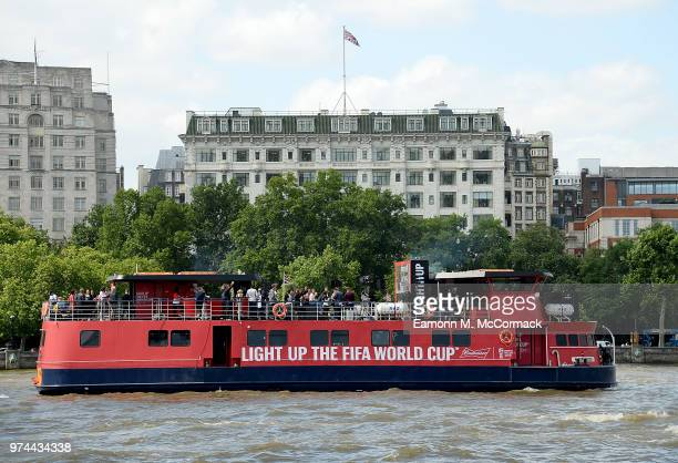 The Bud Boat on The River Thames during the launch party hosted by Budweiser the Official Beer of the 2018 FIFA World Cup on June 14 2018 in London...