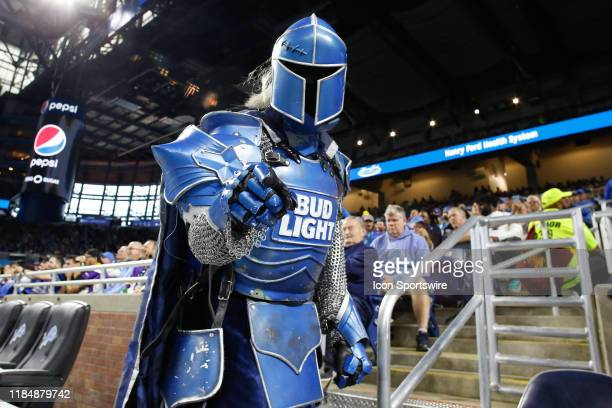 The Bud Light knight is seen interacting with fans in the stands during regular season game action between the Minnesota Vikings and the Detroit...