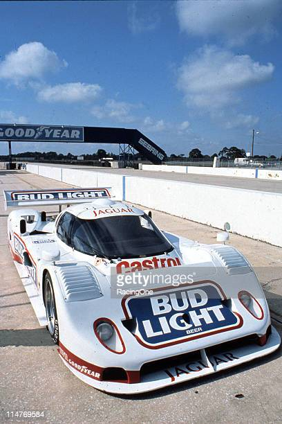 The Bud Light/Castrol Jaguar GTP car sits on pit road at Sebring International Raceway prior to the running of the 12 Hours of Sebring. Co-drivers...