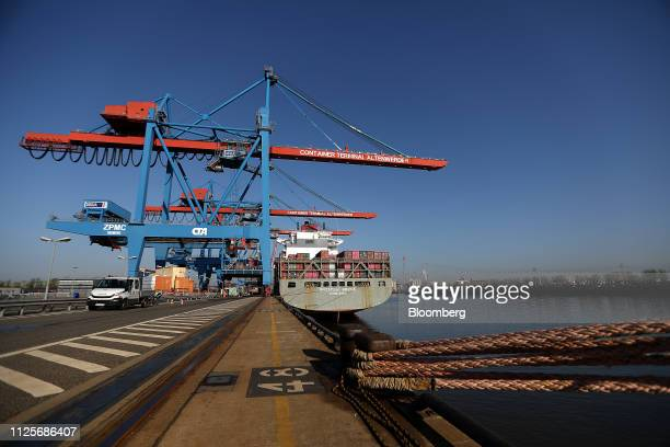 The Budapest Bridge container vessel sits at the HHLA Container Terminal Altenwerder in the port of Hamburg in Hamburg, Germany, on Monday, Feb. 18,...