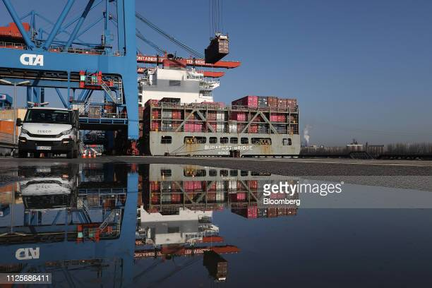 The Budapest Bridge container vessel sits at the HHLA Container Terminal Altenwerder in the port of Hamburg in Hamburg Germany on Monday Feb 18 2019...