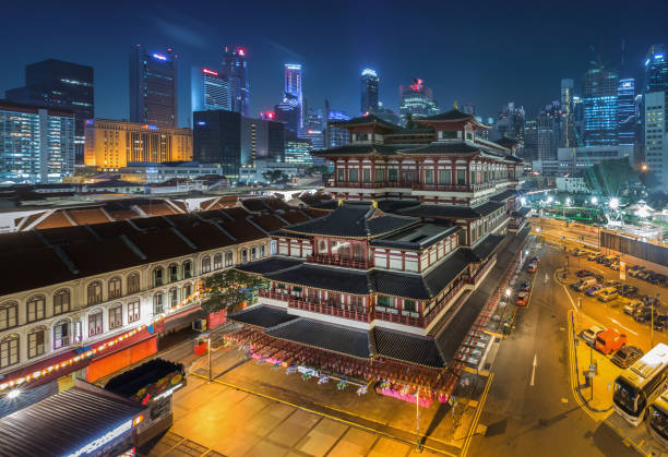 The Buddha Tooth Relic Temple lights up in Chinatown, Singapore.