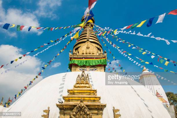 the buddha wisdom eye's of swayambhunath the ancient stupa and one of the most tourist attraction in kathmandu, nepal. - stupa stock pictures, royalty-free photos & images