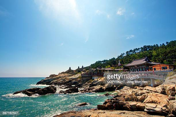 the buddhist temple at the seaside - south korea stock pictures, royalty-free photos & images