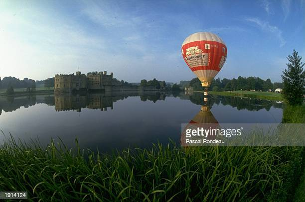 The Budweiser hot air balloon rises up in the on 1 September 1987 near Leeds Castle in Kent, United Kingdom. Visions of Sport. .