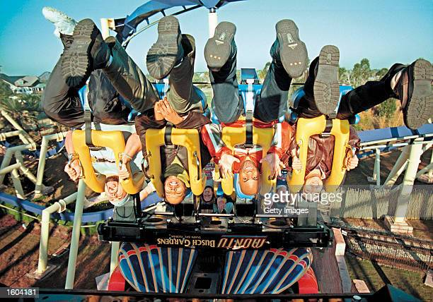 """The Budweiser """"Whassup?!"""" actors Scott Brooks, Paul Williams, Fred Thomas and Puerto Rock ride Busch Gardens Tampa Bay''s Montu in this undated photo..."""