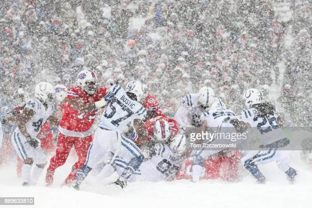 The Buffalo Bills and Indianapolis Colts during the second quarter of a snowy game on December 10 2017 at New Era Field in Orchard Park New York