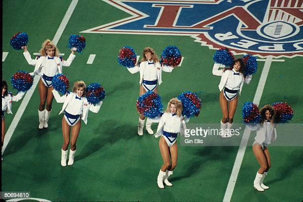 The Buffalo Bills cheerleaders the Jills cheer before their team took on the Washington Redskins in Super Bowl XXVI at the Metrodome on January 26...