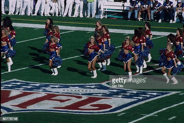 The Buffalo Bills cheerleaders The Jills cheer during Super Bowl XXVII at the Rose Bowl on January 31 1993 in Pasadena California The Dallas Cowboys...