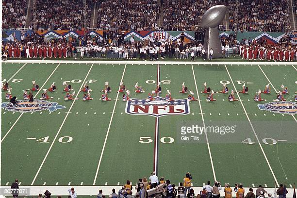The Buffalo Bills cheerleaders the Jills cheer prior to their team taking on the Dallas Cowboys in Super Bowl XXVIII at the Georgia Dome on January...