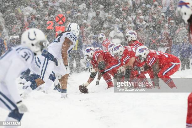 The Buffalo Bills offense lines up against the Indianapolis Colts defense during the second quarter on December 10 2017 at New Era Field in Orchard...