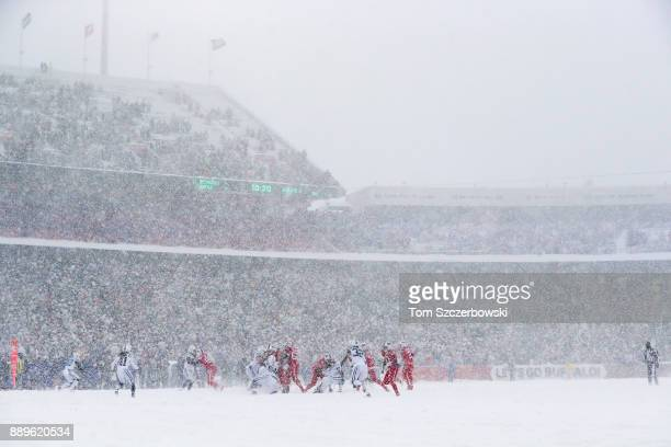 The Buffalo Bills run a play during the second quarter against the Indianapolis Colts on December 10 2017 at New Era Field in Orchard Park New York