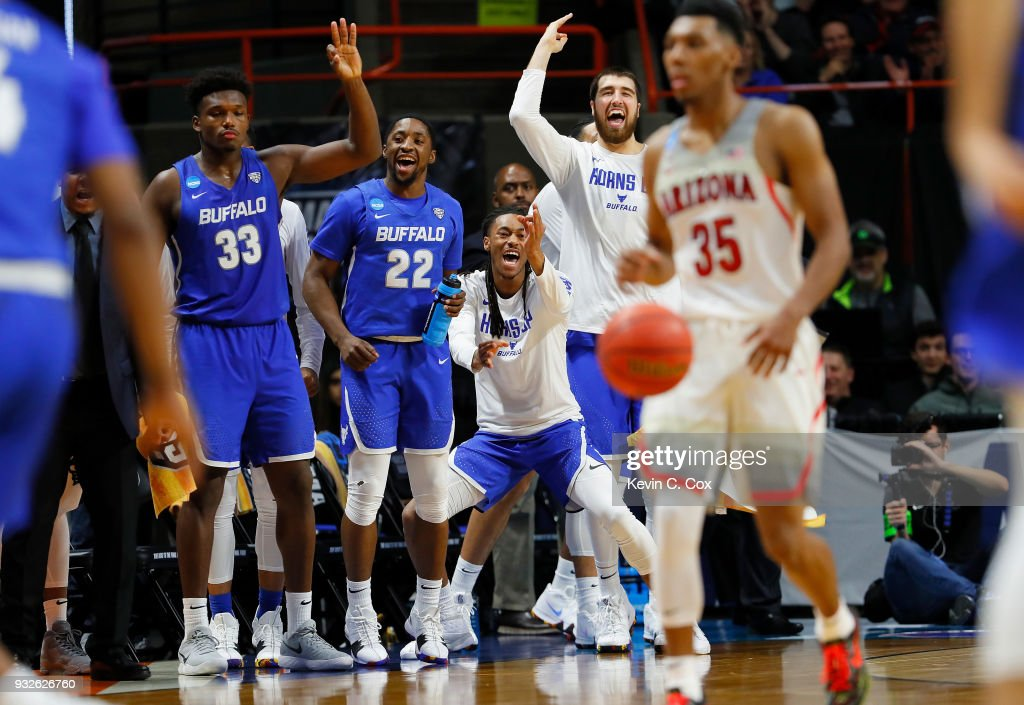 The Buffalo Bulls bench celebrates in the second half against the Arizona Wildcats during the first round of the 2018 NCAA Men's Basketball Tournament at Taco Bell Arena on March 15, 2018 in Boise, Idaho.